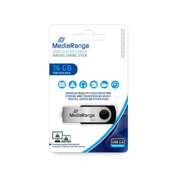 ΜΝΗΜΗ USB MEDIARANGE 16GB BLACK USB 2.0 SWIVEL